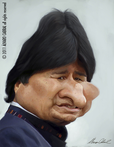 Cartoon: Evo Morales (medium) by alvarocabral tagged caricature