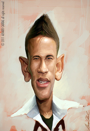 Cartoon: Neymar (medium) by alvarocabral tagged caricature