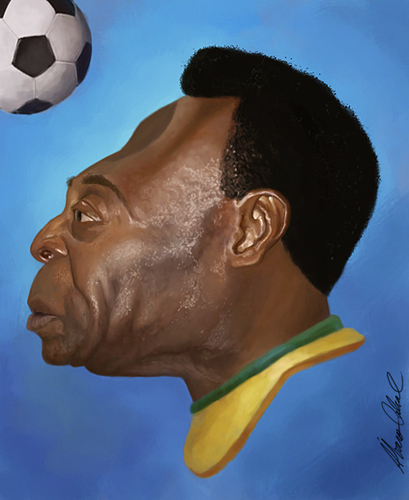 Cartoon: Pele (medium) by alvarocabral tagged caricature