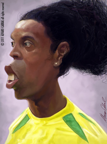 Cartoon: Ronaldinho Gaucho (medium) by alvarocabral tagged caricature