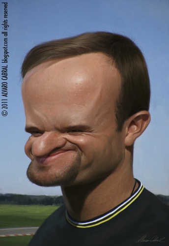 Cartoon: Rubens Barrichello (medium) by alvarocabral tagged caricature