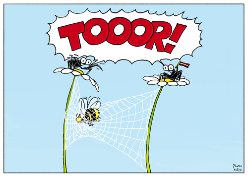 Cartoon: TOOOR! (medium) by Yavou tagged abelha,kartunz,abeilles,ari,bee,fleur,flor,fiore,cartoon,yavou,aranha,de,teia,agi,örümcek,arana,ragno,araignee,web,spiders,spinnennetz,netz,net,spider,fly,gefangen,biene,hummel,blumen,spinne,fussball,tor,insekten,flowers,fussball,fußball,tor,insekten,hummel,biene,gefangen,spinnennetz,netz,natur,fangen,falle