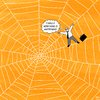 Cartoon: TARANTULA - ENG (small) by Yavou tagged tarantula,cartoon,spider,spiders,web,spinne,spinnennetz,arachnida,business,man,koffer,suitcase