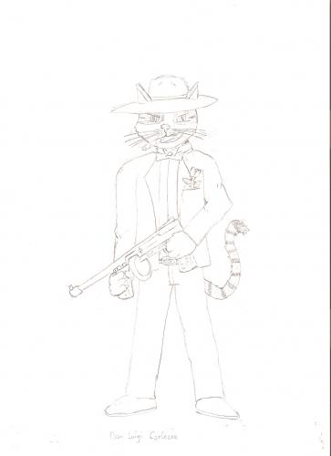 Cartoon: Don Luigi Corleone (medium) by bauerfreshskco tagged mafia,mafiosi,cat,luigi,kater