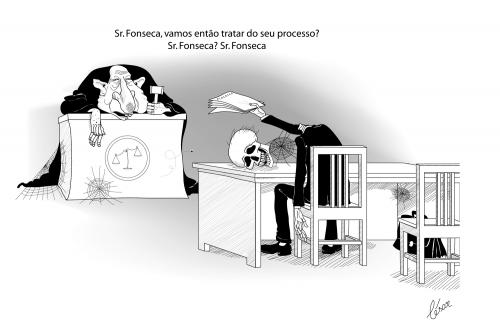 Cartoon: Justica lenta - Slow justice (medium) by besereno tagged justice,justica,law,lei,leis,tribunal,court