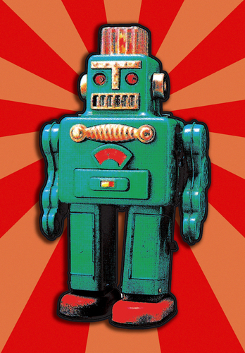 Cartoon: GREEN TIN ROBOT (medium) by zellaby tagged tin,robot,zellaby,collage,toy