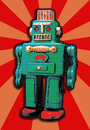 Cartoon: GREEN TIN ROBOT (small) by zellaby tagged tin,robot,zellaby,collage,toy