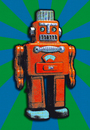 Cartoon: RED TIN ROBOT (small) by zellaby tagged tin,robot,zellaby,collage,toy