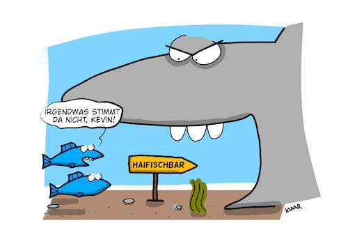 Cartoon: Haifischbar (medium) by klaartoons tagged tiere,hai,fisch,meer