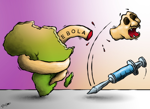 Cartoon: Curable At Last (medium) by cartoonistzach tagged health,africa,vaccine,ebola,epidemic,disease,virus,congo,health,africa,vaccine,ebola,epidemic,disease,virus,congo,epidemie,gesundheit,impfung,unheilbar,infektion,afrika