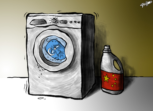 Cartoon: Uyghurs- Brainwashed by China? (medium) by cartoonistzach tagged china,uyghur,muslim,internment,religion,human,rights,china,uyghur,muslim,internment,religion,human,rights,menschenrechte,waschmaschine,muslime,gewalt,frieden