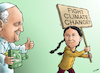Cartoon: Pope Francis Supports Greta (small) by cartoonistzach tagged greta,thunberg,pope,environment,laudato