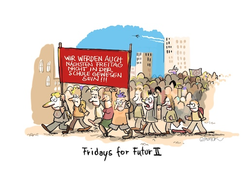 Cartoon: Fridays for Futur II (medium) by GYMMICK tagged fridays,for,future