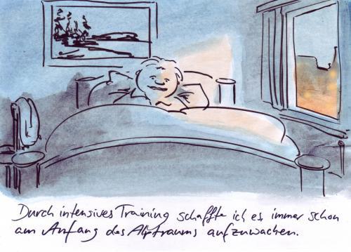 Alles im griff by bernd zeller philosophy cartoon toonpool for Bett schlafen