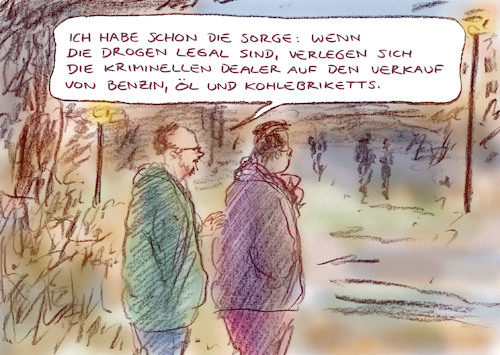 Cartoon: Besorgnis (medium) by Bernd Zeller tagged park