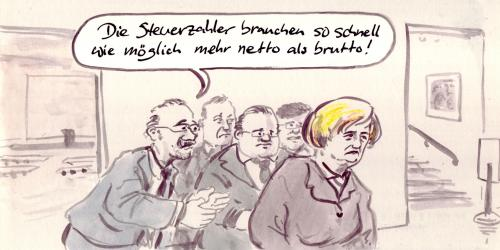 Cartoon: CDU Parteitag (medium) by Bernd Zeller tagged konjunkturprogramm,konsum,kosumenten,kaufen,wirtschaftskrise,rezession,absatzzahlen,abschwung,parteitag,cdu,merkel,steuersenkungen