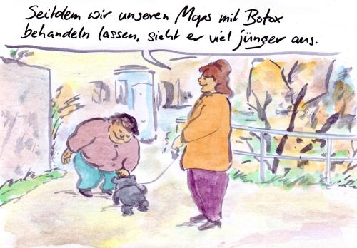 Cartoon: Faltenfrei (medium) by Bernd Zeller tagged falten,botox,generationen,jugend,mops