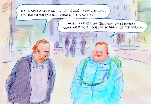 Cartoon: Im Krisenmodus (medium) by Bernd Zeller tagged geld