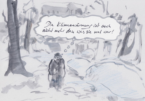 Cartoon: Kein Verlass (medium) by Bernd Zeller tagged schnee,winter,frost,klimawandel,erderwärmung