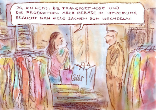 Cartoon: Konsum for future (medium) by Bernd Zeller tagged kleidung