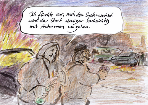 Cartoon: Linke Gewalt (medium) by Bernd Zeller tagged autonome,systemwechsel,gewalt