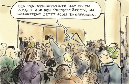 Cartoon: Medienandrang (medium) by Bernd Zeller tagged nsu,prozess