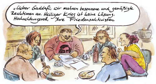 Cartoon: Offener Brief (medium) by Bernd Zeller tagged gaddafi,libyen,heiliger,krieg,friedensaktivisten