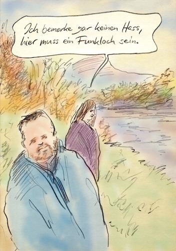 Cartoon: offline (medium) by Bernd Zeller tagged funkloch