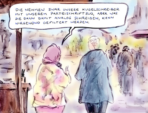 Cartoon: Riskant (medium) by Bernd Zeller tagged wahlkampf