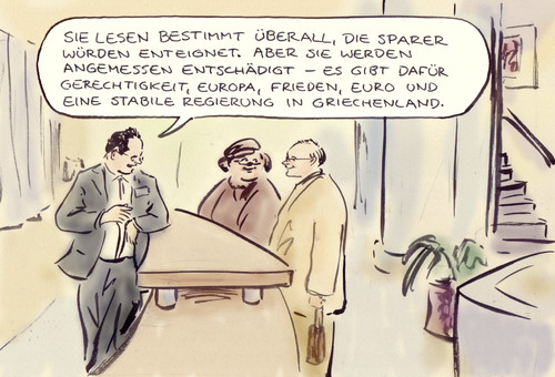 Cartoon: Sparer (medium) by Bernd Zeller tagged griechenland,euro,krise