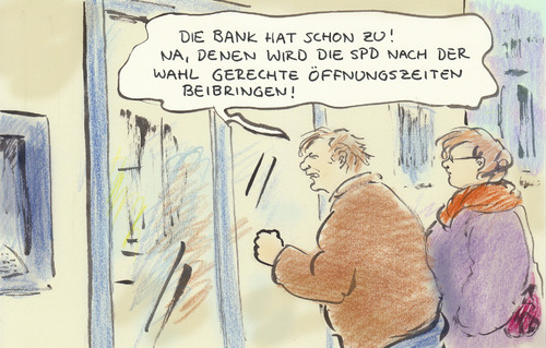 Cartoon: SPD-Wahlprogramm (medium) by Bernd Zeller tagged spd,wahlprogramm,banken