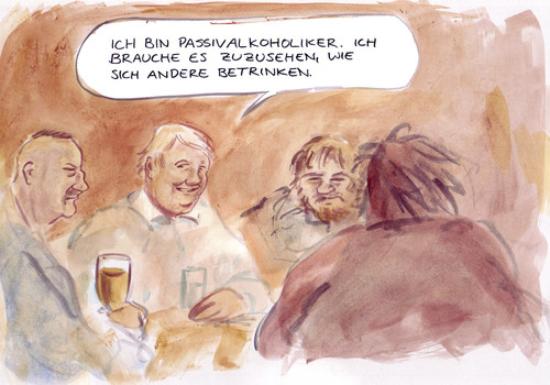 Cartoon: Süchtig (medium) by Bernd Zeller tagged süchtig,alkohol