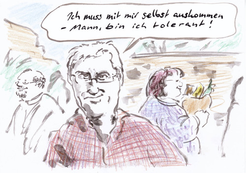 Cartoon: Supertoleranz (medium) by Bernd Zeller tagged toleranz