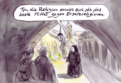Cartoon: Surrogatschutz (medium) by Bernd Zeller tagged religion,ersatzreligion