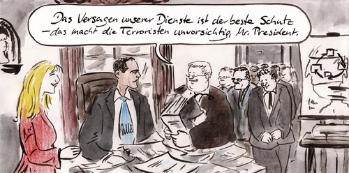 Cartoon: Terrorgipfel (medium) by Bernd Zeller tagged terror,flugsicherheit,geheimdienst,cia,obama,usa