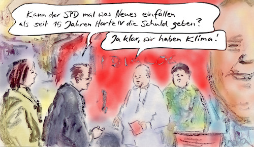 Cartoon: Themensetzung (medium) by Bernd Zeller tagged spd