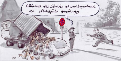 Cartoon: Warnstreik (medium) by Bernd Zeller tagged streik,warnstreik,strike,
