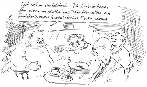 Cartoon: Wilde (medium) by Bernd Zeller tagged kapitalismus,system,subvention,theater,wilde