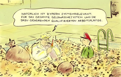 Cartoon: Zypernrettung (medium) by Bernd Zeller tagged eu,spareinlagen,banken,zypern