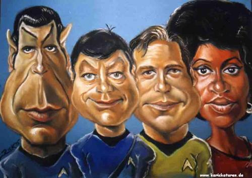 Cartoon: Fernsehen - Enterprise - 1996 (medium) by Portraits-Karikaturen tagged raumschiff,enterprise,spock,pille,captain,kirk,uhura