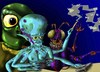 Cartoon: Space Gaming (small) by Vohwinkel Illustrations tagged aliens,games,videogames,space