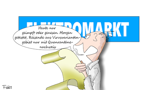 Cartoon: Neue Freiheiten (medium) by Fish tagged grundrechte,rechte,geimpft,genesen,genesene,geimpfte,lockdown,lockerungen,inzidenz,unter,hundert,merkle,söder,spahn,laschet,corona,pandemie,elektromarkt,virus,virusvariante,virusvariantengebiet,test,quarantäne