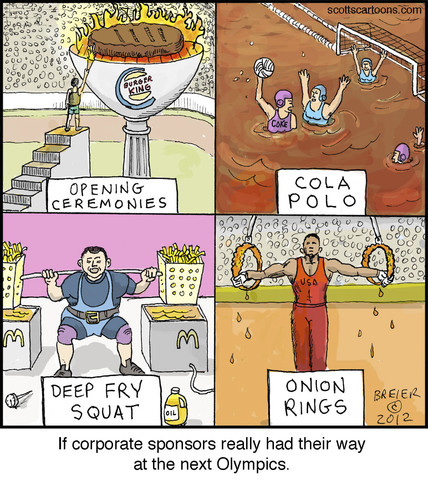 Cartoon: Corporate Games (medium) by noodles tagged water,olympics,ceremonies,opening,lifting,weight,polo,noodles,king,burger,mcdonalds