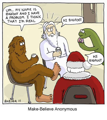 Cartoon: My Name Is Bigfoot (medium) by noodles tagged religion,support,groups,santa,loch,ness,monster,god,donuts