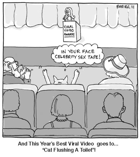 Cartoon: Viral Video (medium) by noodles tagged awards,cats,computer,internet,tube,you,videos,viral