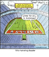 Cartoon: Bills Marketing Disaster (small) by noodles tagged american,football,bills,vegetarian,noodles,empty,stadium