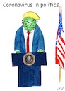 Cartoon: Donald Corona (small) by Stefan von Emmerich tagged cartoon,corona,virus,donald,trump,karikatur,coronavirus,lyin,king,the,lair,tweets,tonight,vote,him,away,in,politics