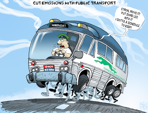 Cartoon: Green Public Transport (medium) by NEM0 tagged public,transport,green,vehicule,energy,environment,environmental,emissions,carbon,ecology,greengases,greenhouse,global,warming,clean,air,pollution,public,transport,green,vehicule,energy,environment,environmental,emissions,carbon,ecology,greengases,greenhouse,global,warming,clean,air,pollution