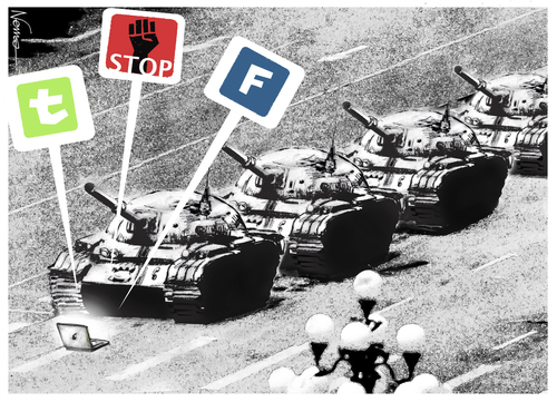 Cartoon: Internet Stops the Tanks (medium) by NEM0 tagged networks,communications,uprising,uprise,manifestation,riot,revolution,tanks,anmen,tian,china,east,middle,twitter,facebook,medial,social,internet
