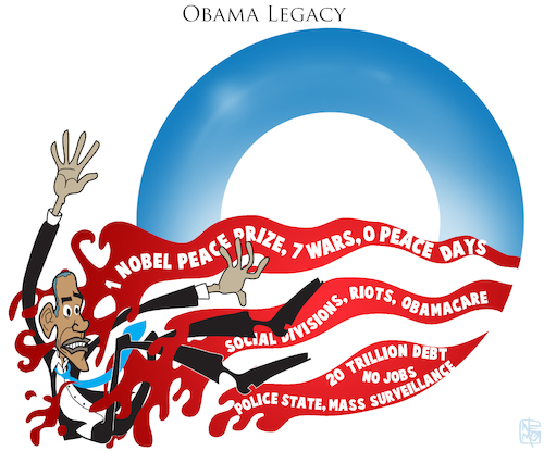 Cartoon: Obama Legacy (medium) by NEM0 tagged barack,obama,president,usa,legacy,police,state,divisions,riots,liberal,democrat,democracy,surveillance,obamacare,nobel,peace,prize,wars,nemo,nem0,barack,obama,president,usa,legacy,police,state,divisions,riots,liberal,democrat,democracy,surveillance,obamacare,nobel,peace,prize,wars
